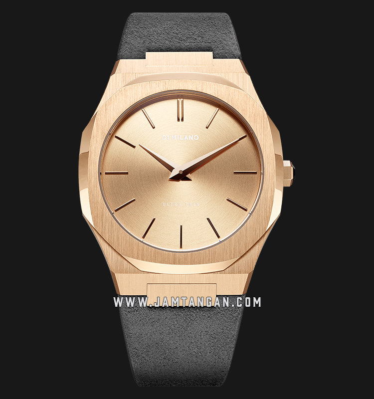D1 Milano Ultra Thin Classic D1-A-UTL05 Rose Gold Dial Grey Venice Suede Leather Strap Machtwatch