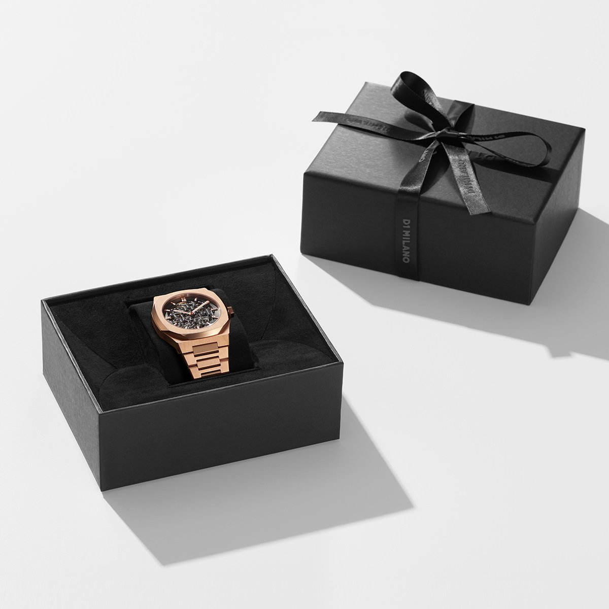 D1 Milano Mechanical SKBJ03 Rose Gold Automatic Skeleton Dial Stainless Steel Strap Machtwatch