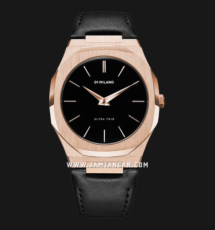 D1 Milano Ultra Thin Classic D1-UTLJ03 Rose Gold - Black Dial Black Leather Strap Machtwatch