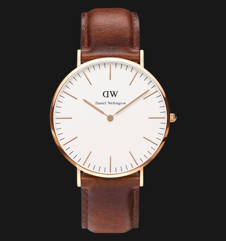 Daniel Wellington 0106DW-GD Classic St.Mawes 40mm White Dial Brown Leather Strap Machtwatch