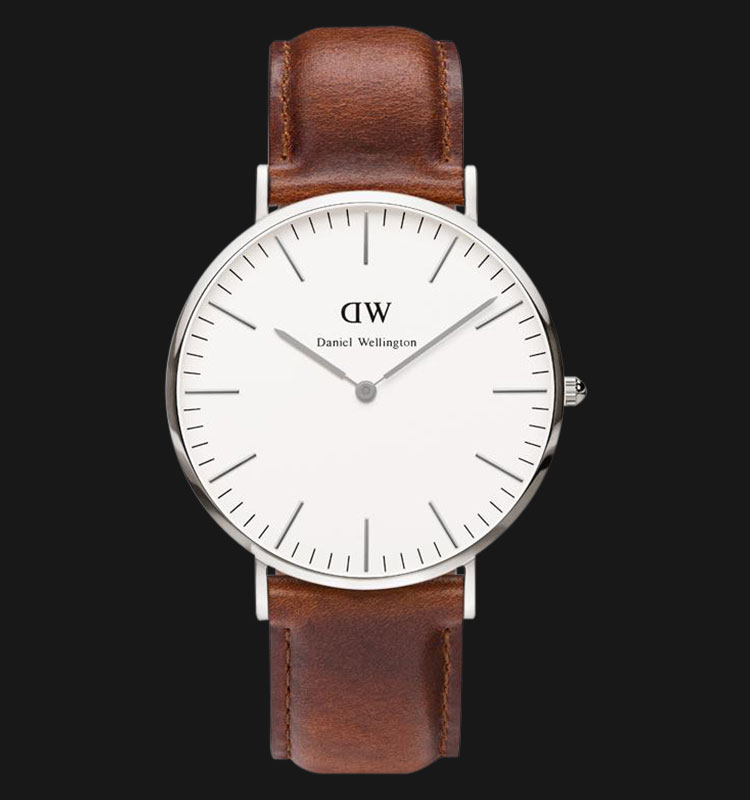 Daniel Wellington 0207DW-SV Classic St.Mawes 40mm White Dial Brown Leather Strap Machtwatch