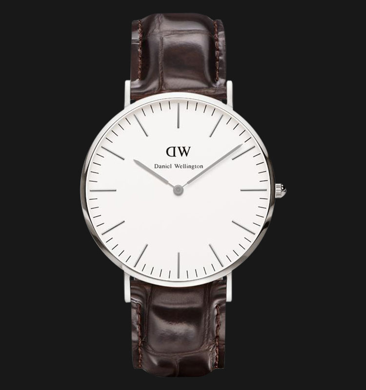 Daniel Wellington 0211DW-SV Classic York 40mm White Dial Brown Leather Strap Machtwatch