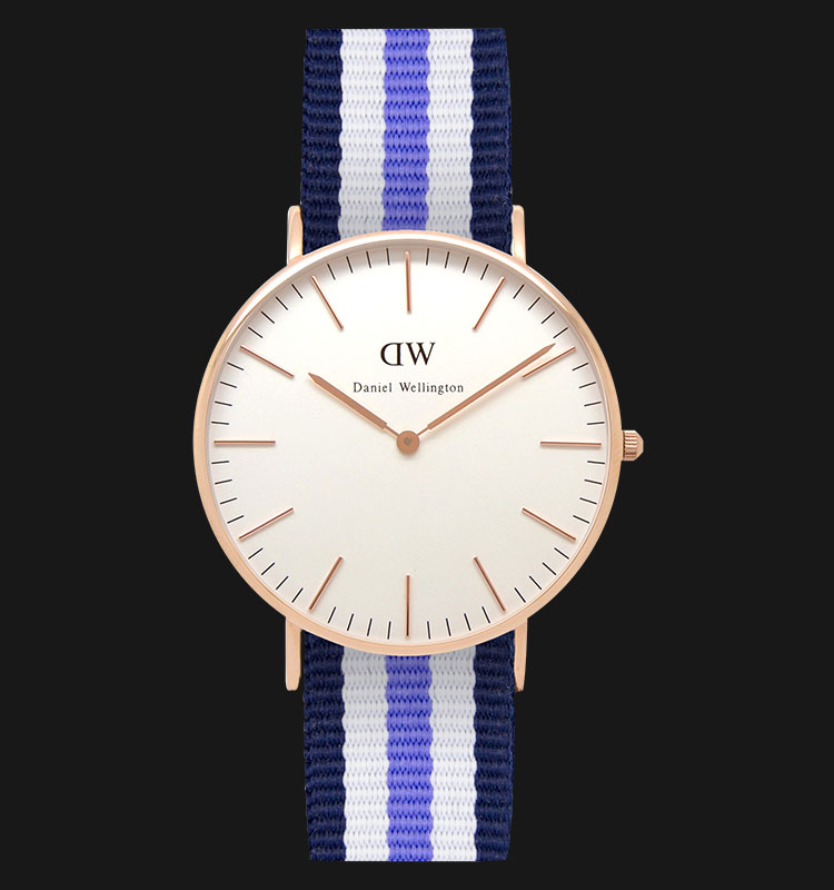 Daniel Wellington 0509DW-GD Classic Trinity 36mm White Dial 3 Tone Nylon Strap Machtwatch
