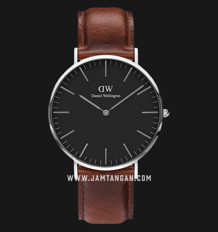 Daniel Wellington DW00100130 Classic St Mawes 40mm Black Dial Brown Leather Strap Machtwatch