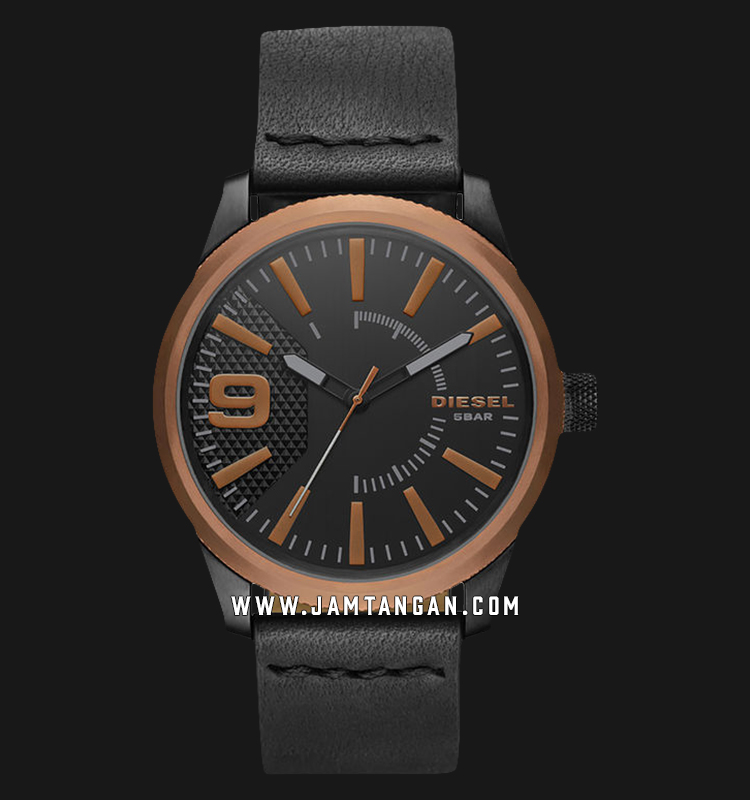 Diesel Rasp DZ1841 Men Black Dial Black Leather Strap Machtwatch