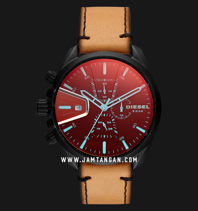 Diesel DZ4471 Ms9 Chronograph Men Red Dial Brown Leather Strap Machtwatch