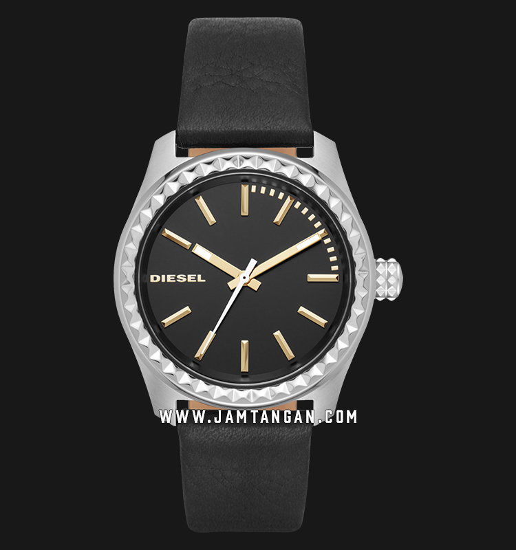 Diesel DZ5530 Kray Kray Ladies Black Dial Black Leather Strap Machtwatch