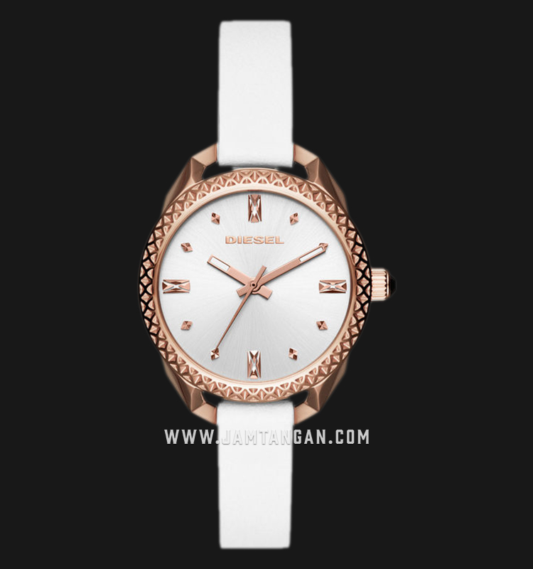 Diesel Timeframe DZ5546 Ladies Silver Dial White Leather Strap Machtwatch