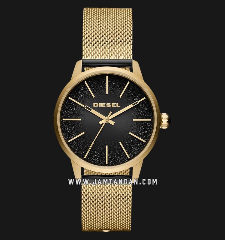Diesel Castilia DZ5576 Ladies Black Dial Gold Mesh Strap Machtwatch
