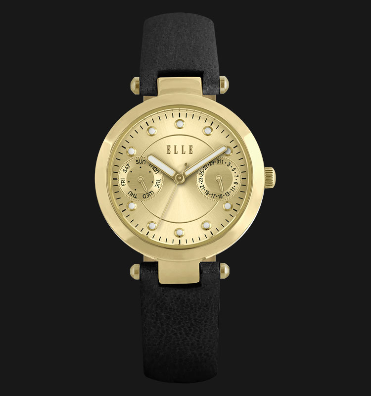 ELLE EL20317S05C Day and Date Display Gold Plated Stainless Steel Leather Strap Machtwatch