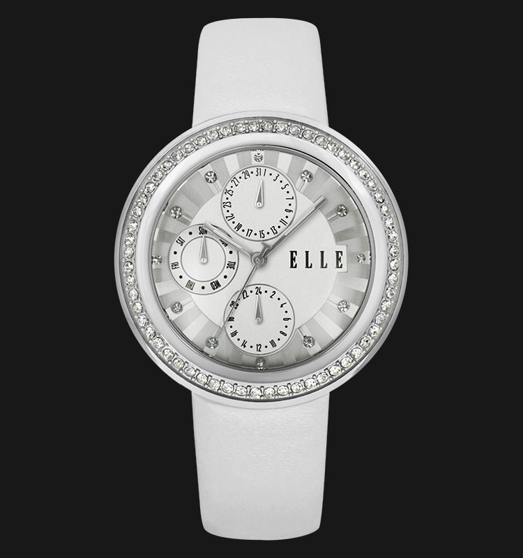 ELLE EL20319S06C Day and Date Display Stainless Steel Leather Strap Machtwatch