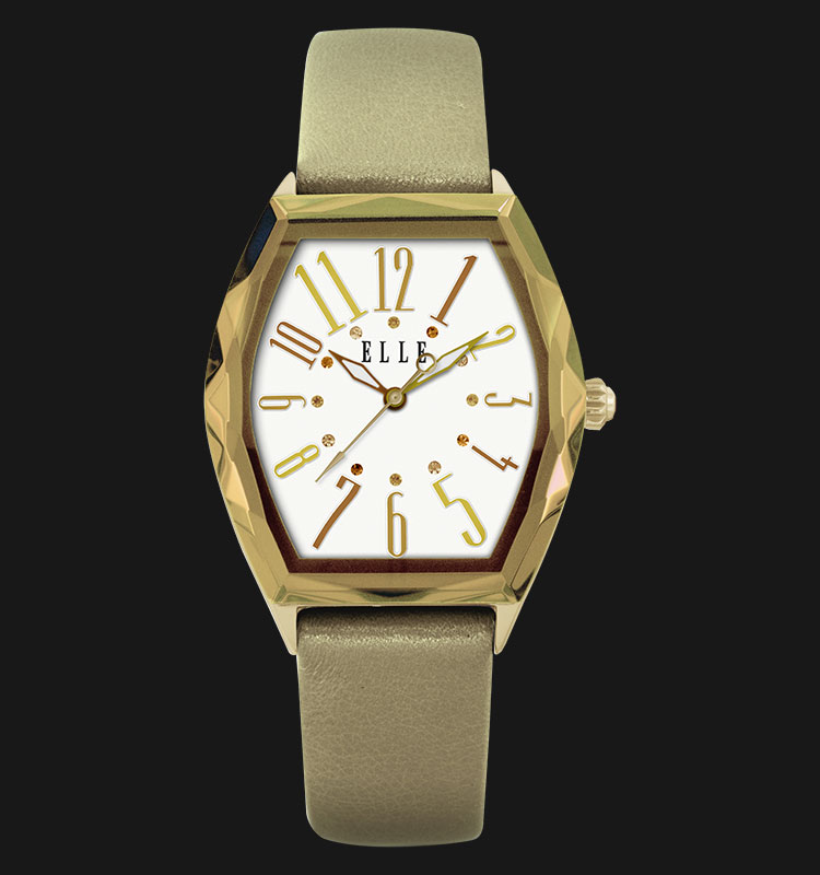 ELLE EL20321S04N Gold Plated Stainless Steel Genuine Leather Strap Machtwatch