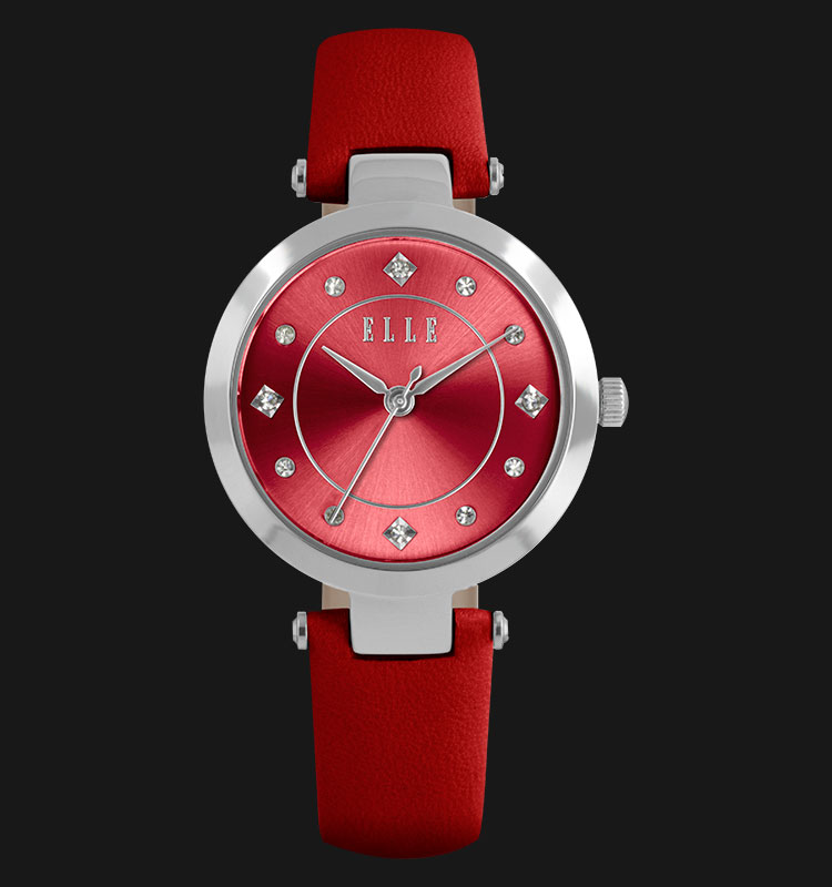 ELLE EL20322S06C Red Dial Stainless Steel Genuine Leather Strap Machtwatch