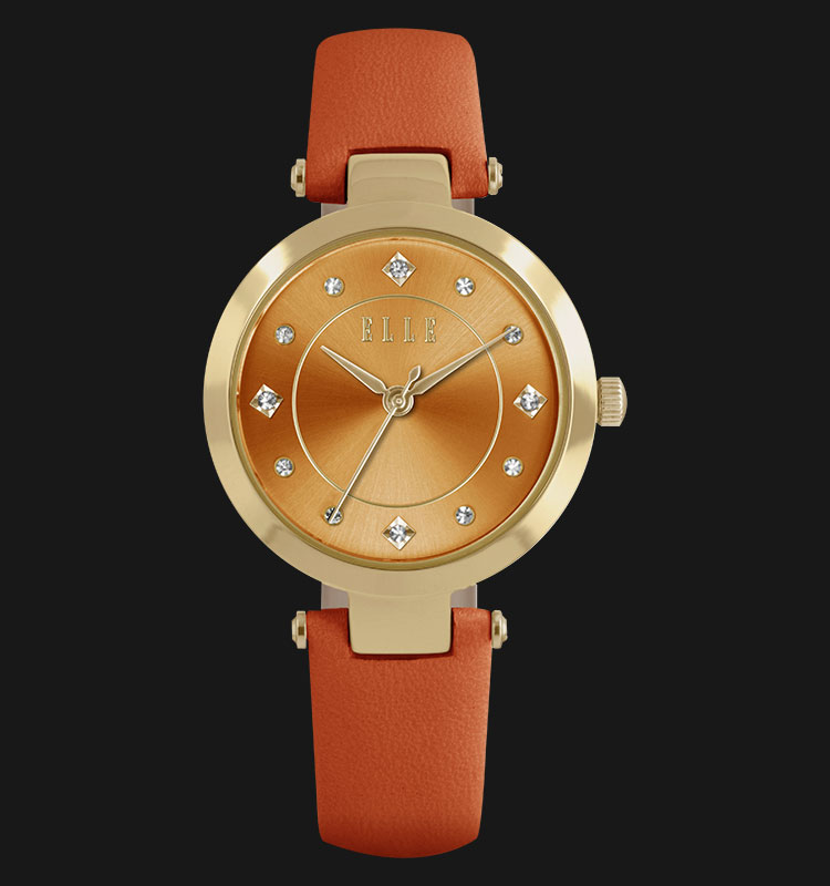 ELLE EL20322S07C Gold Plated Stainless Steel Genuine Leather Strap Machtwatch