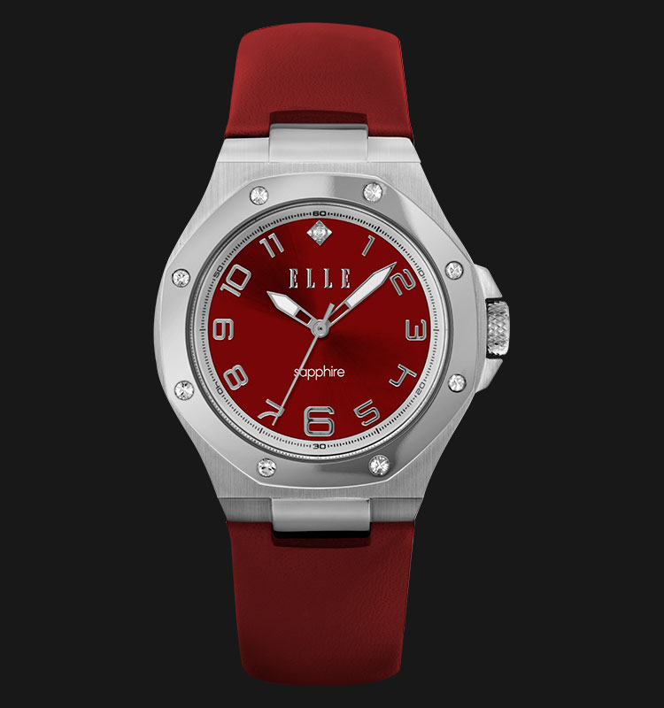 ELLE EL20323S01C Sapphire Red Dial Stainless Steel Genuine Leather Strap Machtwatch