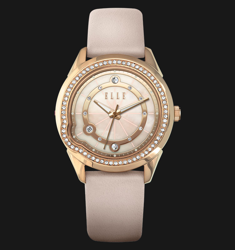 ELLE EL20334S10C Mother of Pearl Dial Genuine Leather Strap Machtwatch