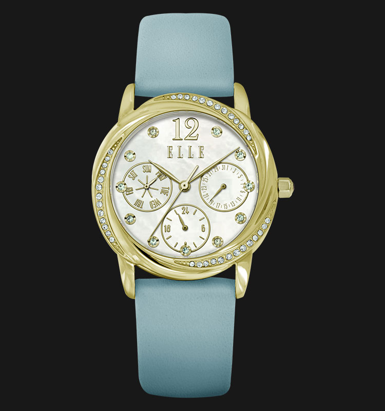 ELLE EL20336S09N Swarovski Crystals Blue Leather Strap Machtwatch