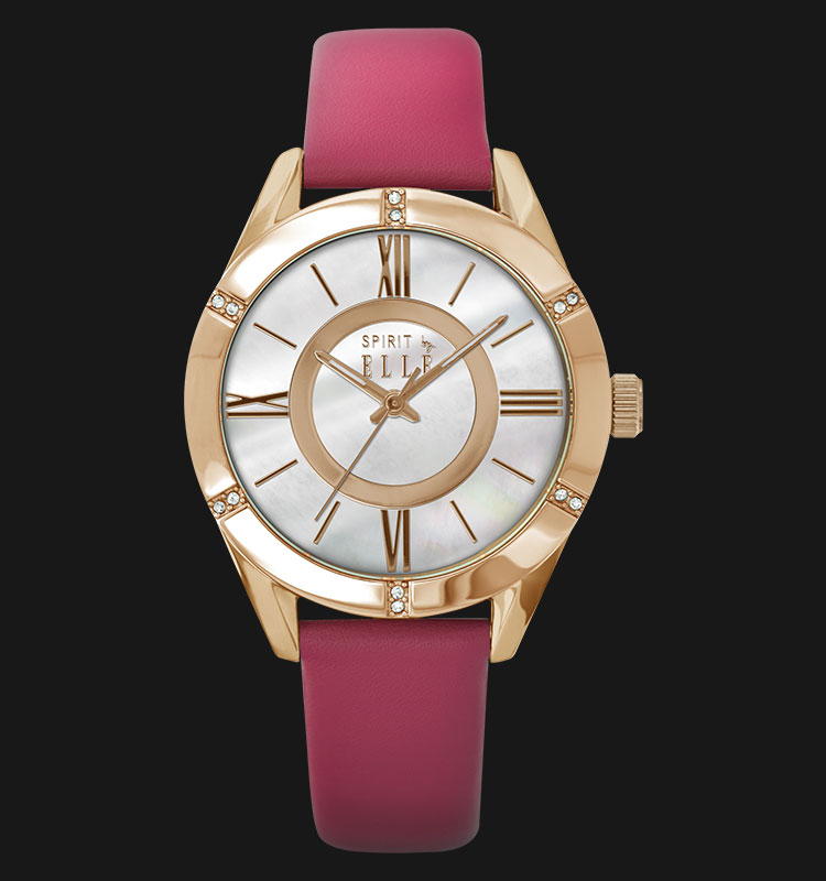 ELLE ES20039S04X Mother of Pearl Dial Pink Leather Strap Machtwatch