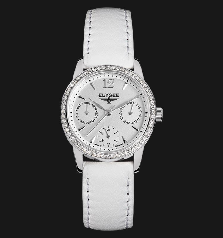 Elysee 13274 Scarlett White Dial White Leather Strap Machtwatch