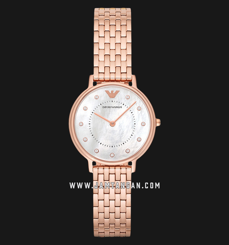 Emporio Armani Classic AR11006 White Mother of Pearl Dial Rose Gold Stainless Steel Strap Machtwatch