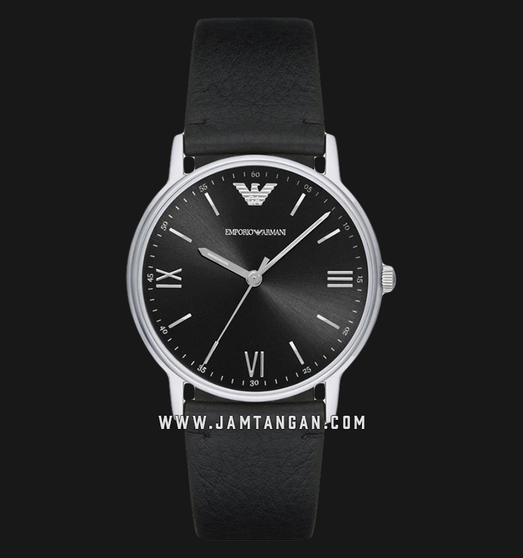 Emporio Armani Classic AR11013 Black Sunray Dial Black Leather Strap Machtwatch