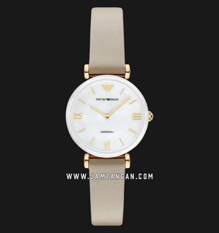 Emporio Armani Madreperla AR11041 White Mother of Pearl Dial Leather Strap Machtwatch