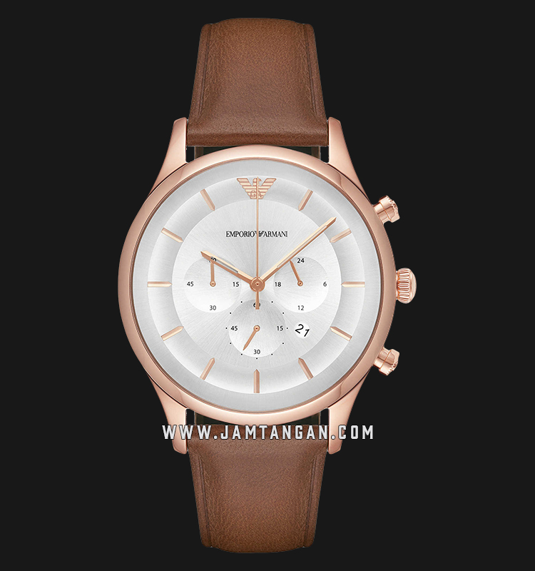 Emporio Armani Classic AR11043 Chronograph Silver Dial Brown Leather Strap Machtwatch