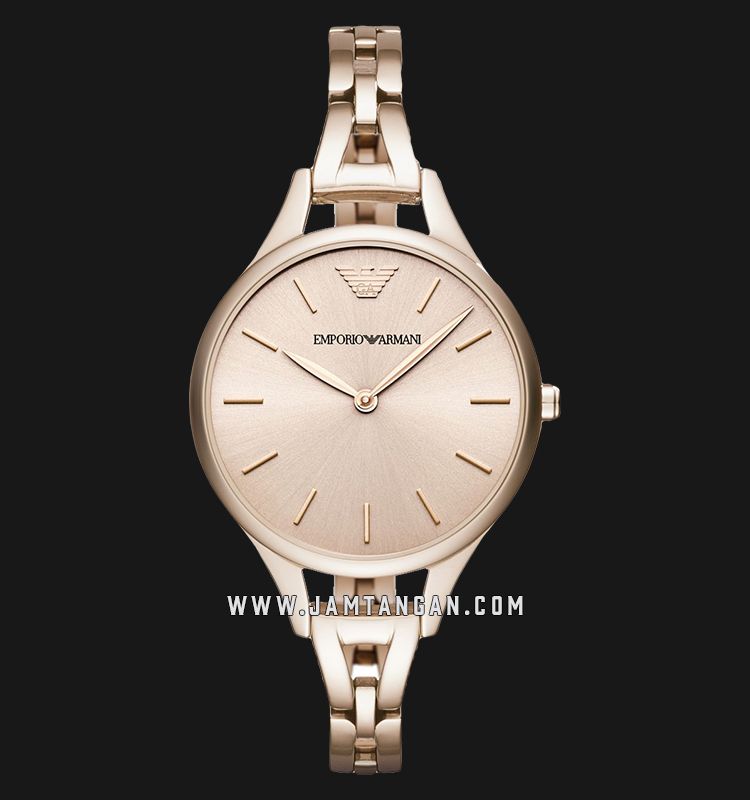 Emporio Armani AR11055 Ladies Rose Gold Dial Rose Gold Stainless Steel Strap Machtwatch