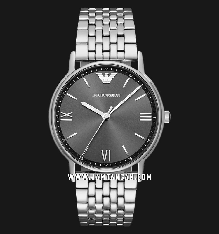Emporio Armani AR11068 Grey Sunray Dial Stainless Steel Strap Machtwatch