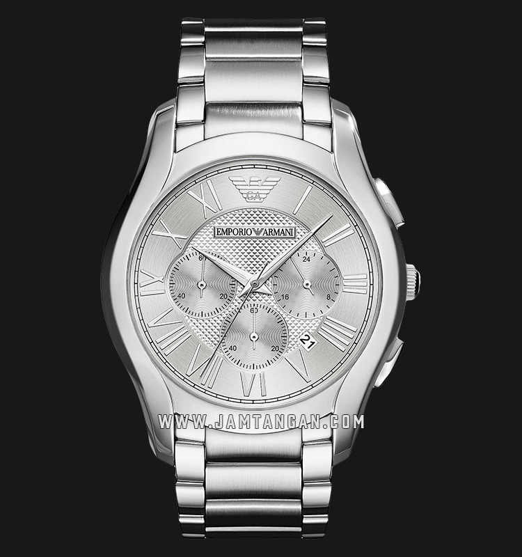 Emporio Armani Valente AR11081 Chronograph Silver Dial Stainless Steel Strap Machtwatch