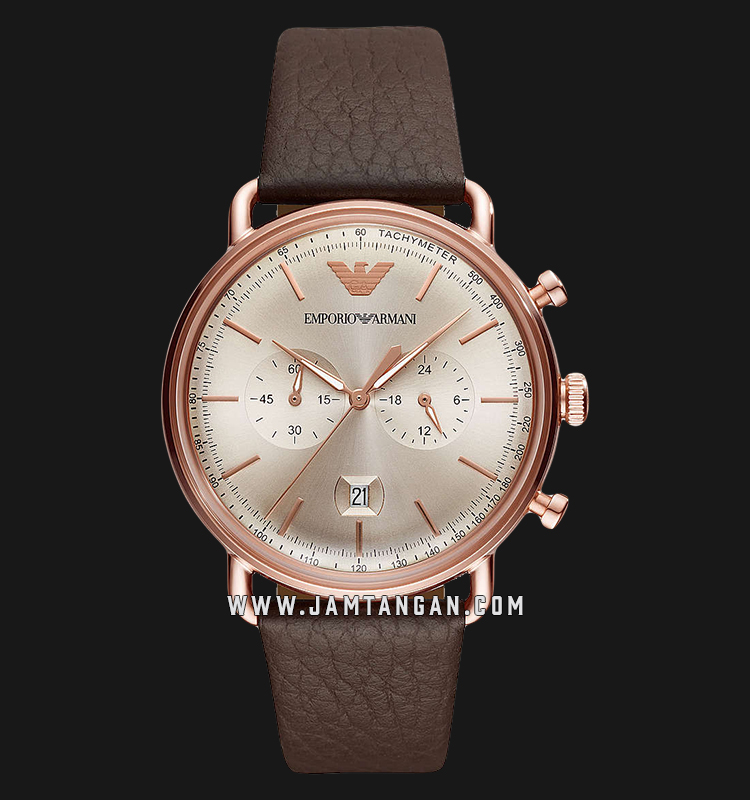 Emporio Armani Aviator AR11106 Chronograph Rose Gold Sunray Dial Brown Leather Strap Machtwatch