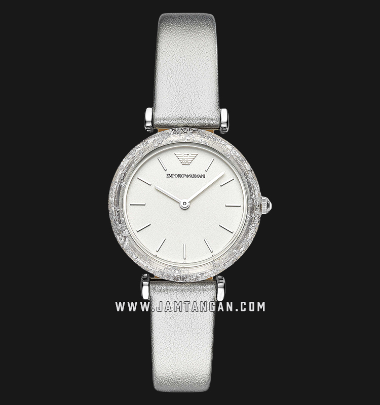 Emporio Armani Classic AR11124 Silver Dial Silver Leather Strap Machtwatch