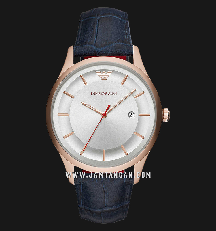 Emporio Armani Classic AR11131 Silver Dial Blue Leather Strap Machtwatch