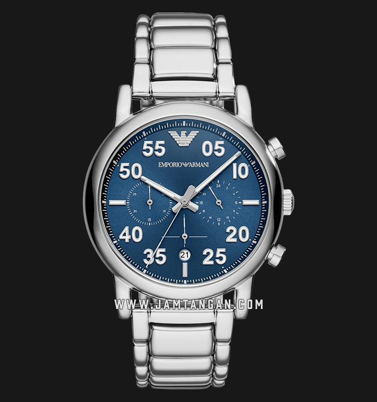 Emporio Armani Sport AR11132 Chronograph Blue Dial Stainless Steel Strap Machtwatch