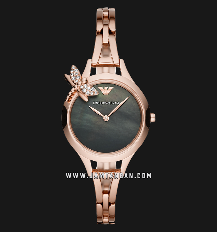 Emporio Armani Aurora AR11139 Black Mother of Pearl Dial Rose Gold Stainless Steel Strap Machtwatch