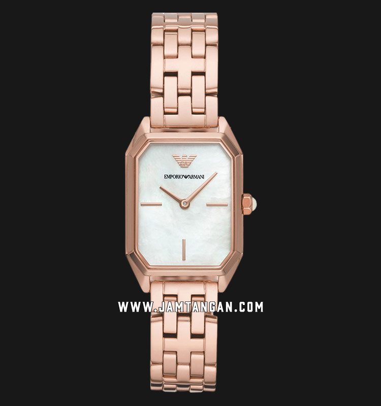 Emporio Armani AR11147 Mother of Pearl Dial Rose Gold Stainless Steel Strap Machtwatch