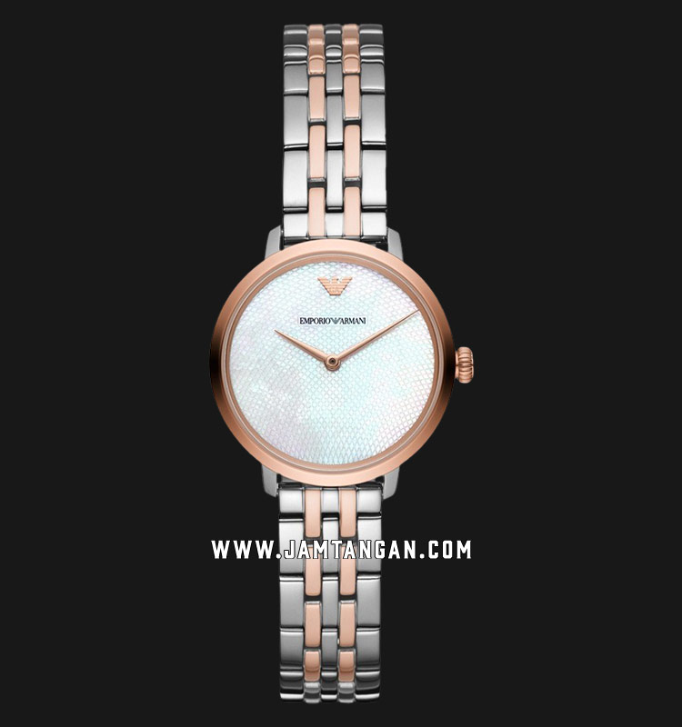 Emporio Armani AR11157 White Mother of Pearl Dial Dual Tone Stainless Steel Strap Machtwatch