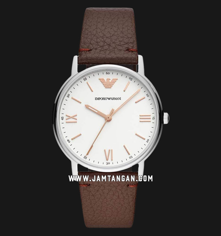 Emporio Armani AR11173 White Dial Brown Leather Strap Machtwatch