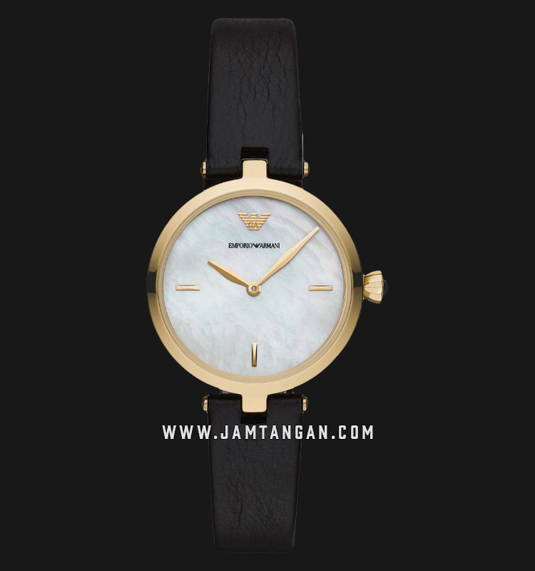 Emporio Armani AR11200 Ladies White Mother of Pearl Dial Black Leather Strap Machtwatch