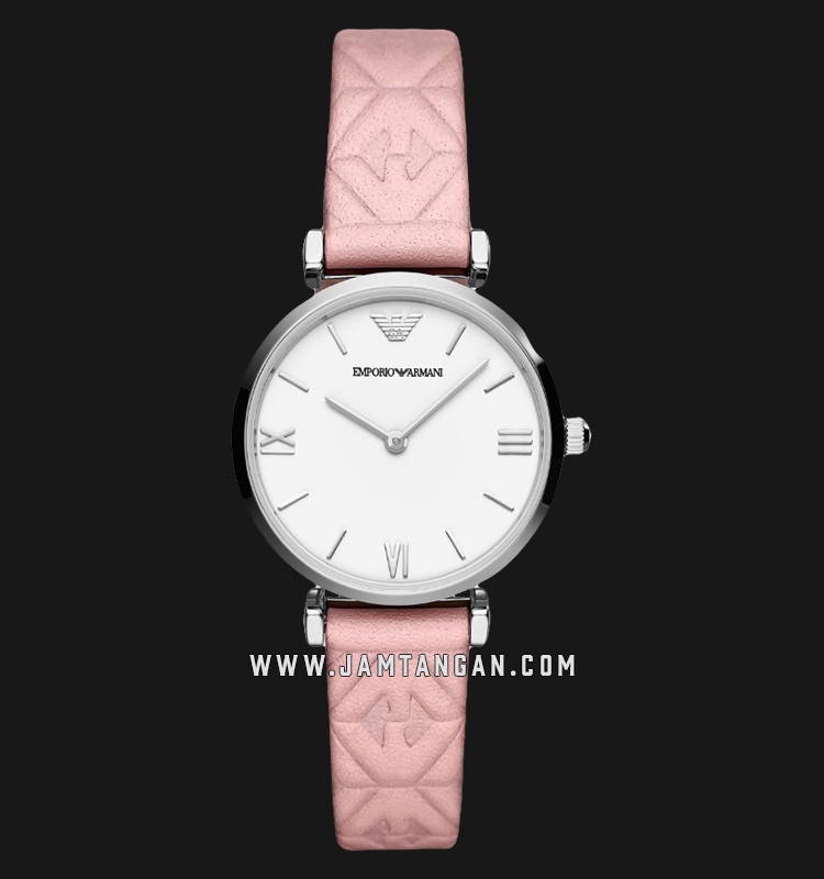 Emporio Armani AR11205 Ladies White Dial Pink Leather Strap Machtwatch