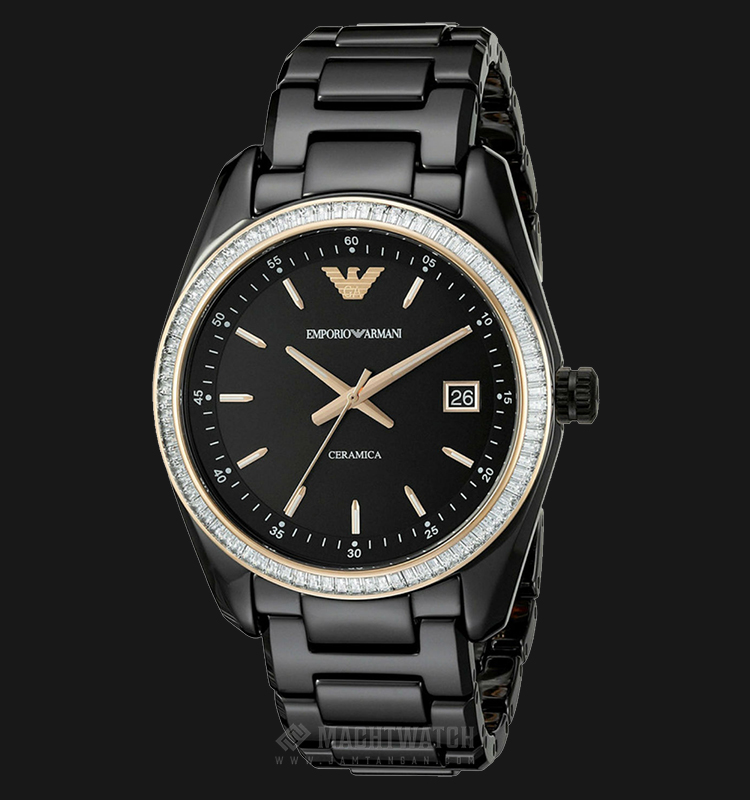Emporio Armani AR1496 Ceramica Black Dial Black Ceramic Watch Machtwatch