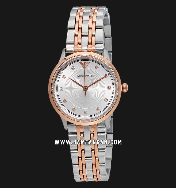 Emporio Armani AR1962 Ladies Silver Dial Dual Tone Stainless Steel Strap Machtwatch