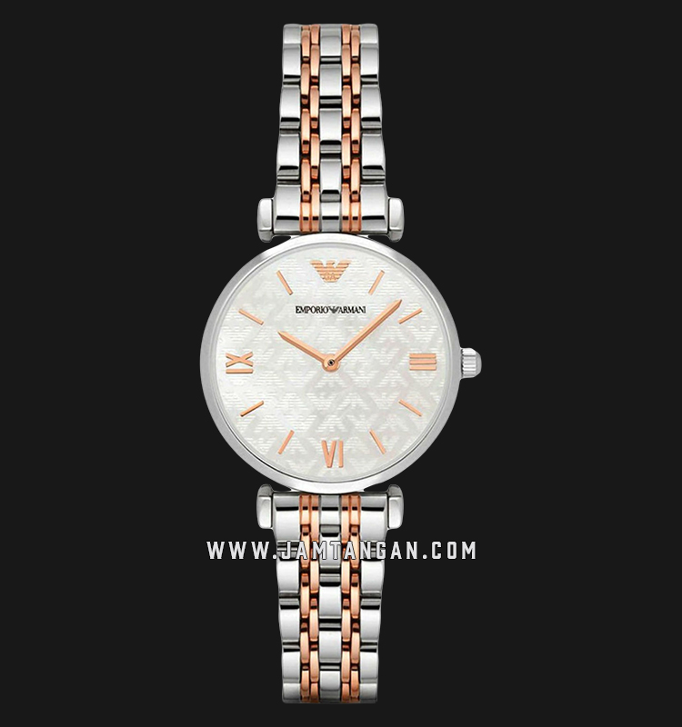 Emporio Armani Classic AR1987 White Dial Dual Tone Stainless Steel Strap Machtwatch