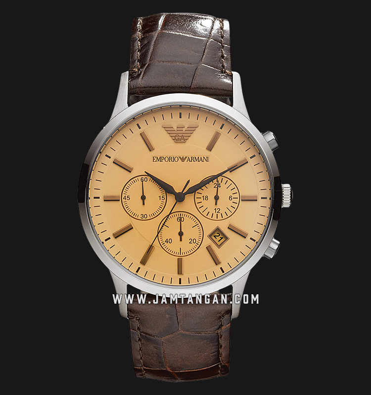 Emporio Armani Classic AR2433 Chronograph Biege Dial Brown Leather Strap Machtwatch