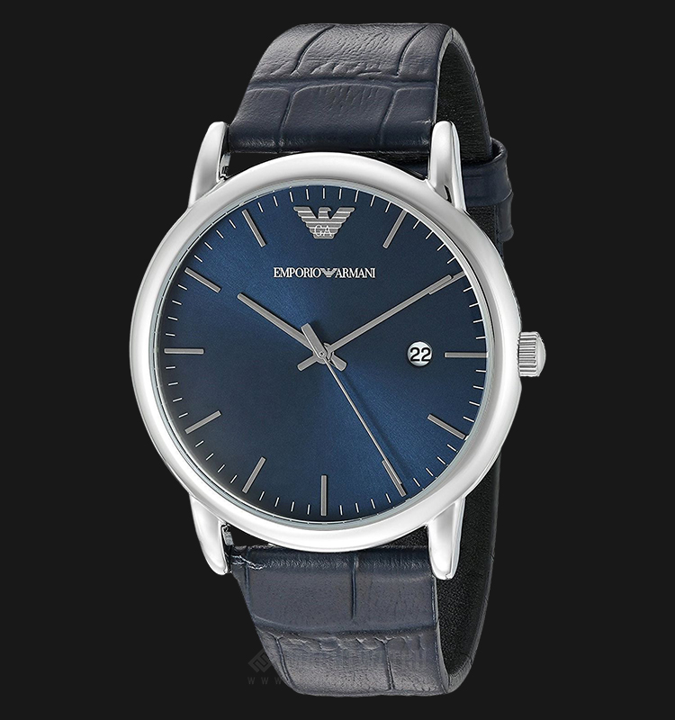 Emporio Armani AR2501 Men Blue Sunray Dial Blue Leather Strap Machtwatch