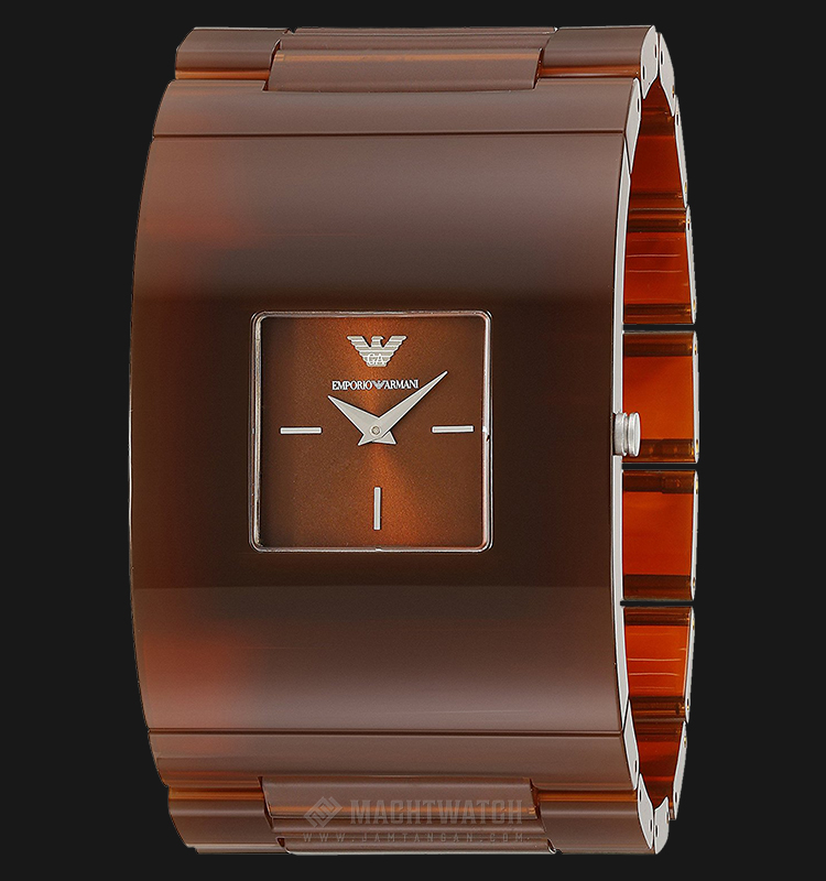 Emporio Armani AR7397 Fashion Brown Sunray Dial Brown Stainless Steel Machtwatch