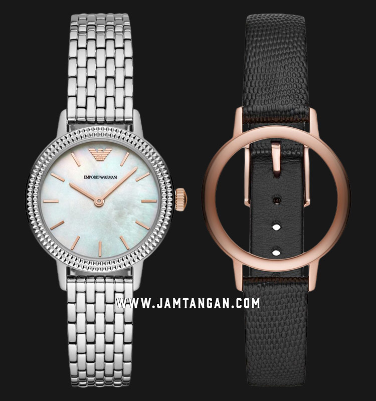 Emporio Armani AR80020 White MOP Dial St. Steel Strap + Interchangeable Case with Black Leather Machtwatch