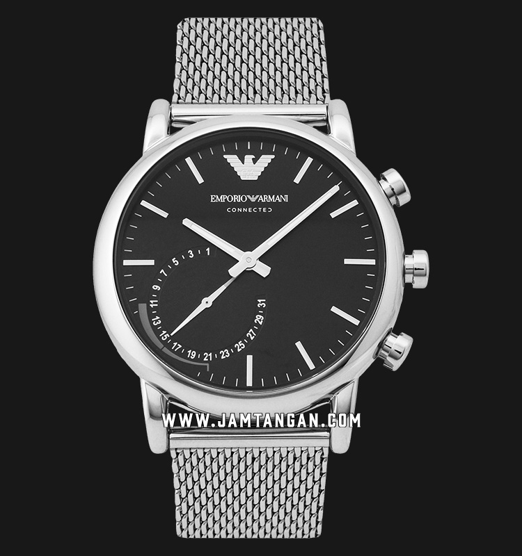 Emporio Armani Hybrid Smartwatch ART3007 Chronograph Black Dial Stainless Steel Machtwatch