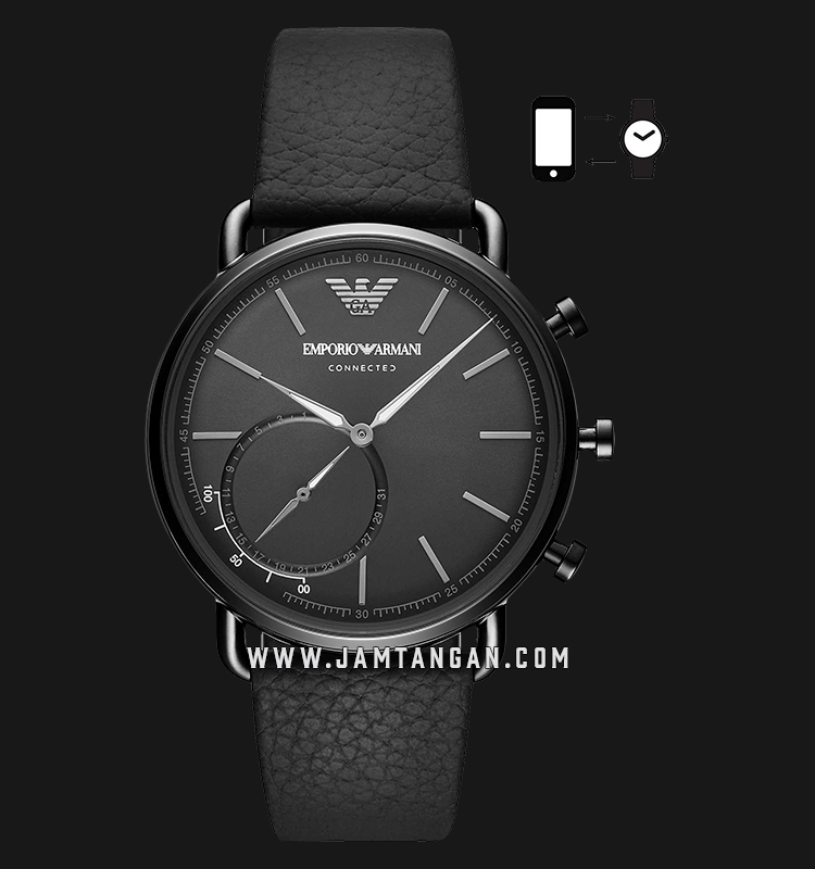 Emporio Armani Hybrid Smartwatch ART3016 Chronograph Black Dial Black Leather Strap Machtwatch