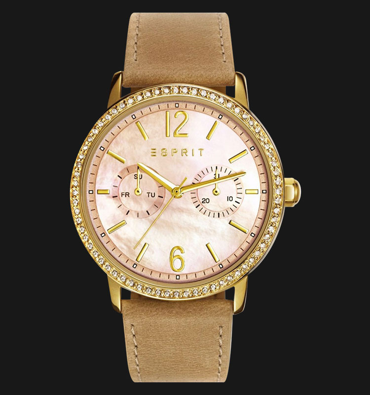 ESPRIT ES108092004 Kate Mother Of Pearl Dial Beige Genuine Leather Band Machtwatch